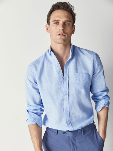 CASUAL FIT DYED LINEN SHIRT