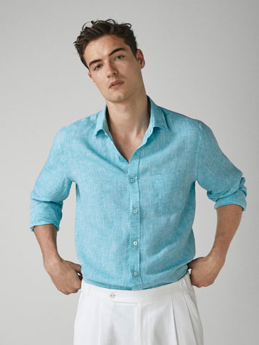 CAMISA LIÑO TINGUIDA CASUAL FIT