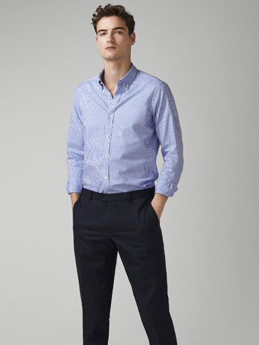 CĂmaȘĂ Oxford În Carouri Slim Fit by Massimo Dutti