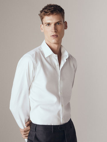 TAILORED FIT EASY IRON PLAIN TWILL SHIRT