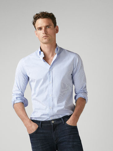 SLIM-FIT STRIPETE SKJORTE I POPLIN