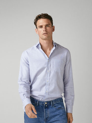 Striped Cotton Slim Fit Shirt by Massimo Dutti