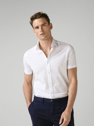 SLIM FIT COTTON PIQUÉ SHIRT