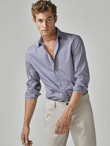 SLIM FIT MICRO CHECK OXFORD SHIRT