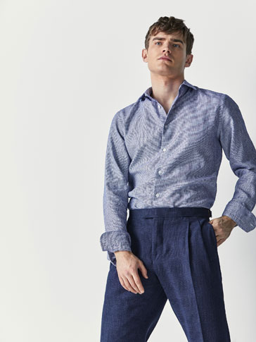 CĂMAȘĂ SLIM FIT STRUCTURATĂ DIN IN/BUMBAC