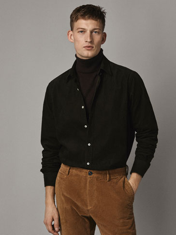SLIM FIT NEEDLECORD COTTON SHIRT