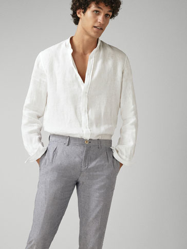 SLIM FIT 100% NAPPED LINEN SHIRT
