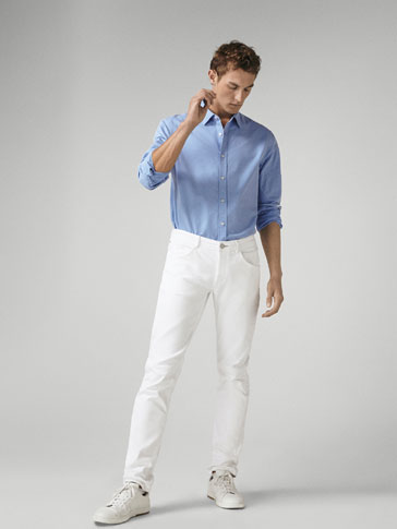 SLIM FIT FADED COTTON SHIRT