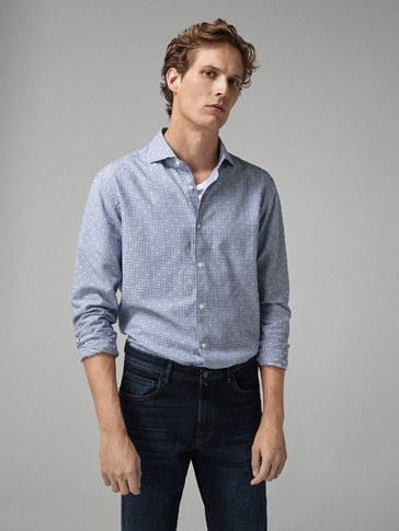 SLIM FIT CHECKED FIL COUPÉ SHIRT