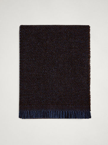 TWO-TONE TEXTURED WOOL SCARF