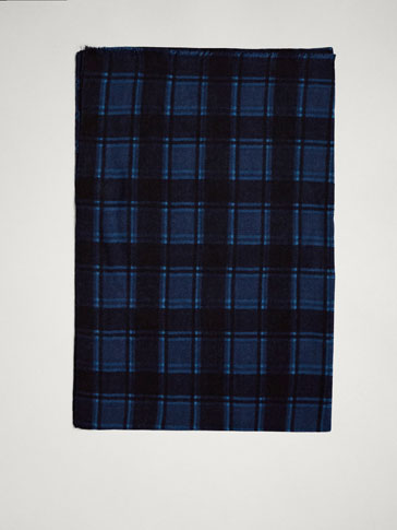 100% WOOL CHECK PRINT SCARF
