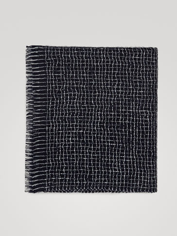 100% WOOL TEXTURED CHECK SCARF