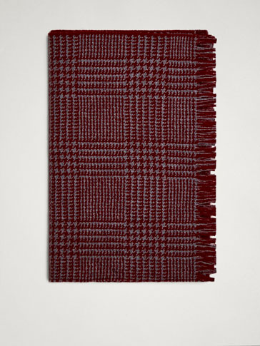 DOUBLE-FACED CHECK WOOL SCARF
