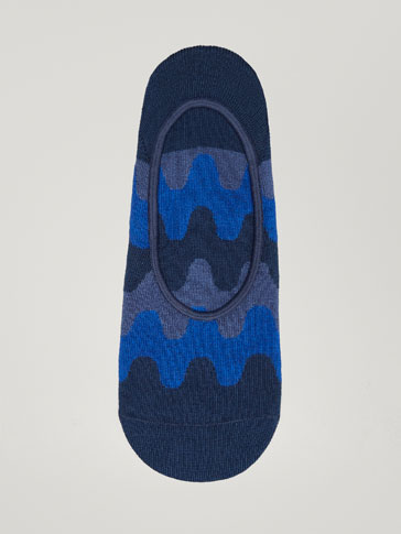COMBED COTTON NO-SHOW SOCKS WITH SCALLOPED DESIGN