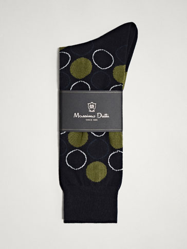CIRCLES AND POLKA DOTS COMBED COTTON SOCKS