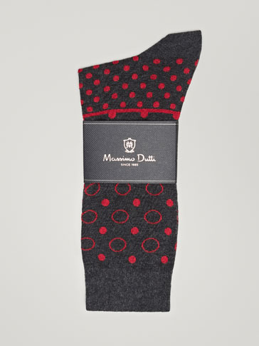 CIRCLE DESIGN COMBED COTTON SOCKS