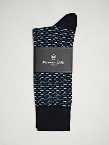 GEOMETRIC DESIGN COMBED COTTON SOCKS
