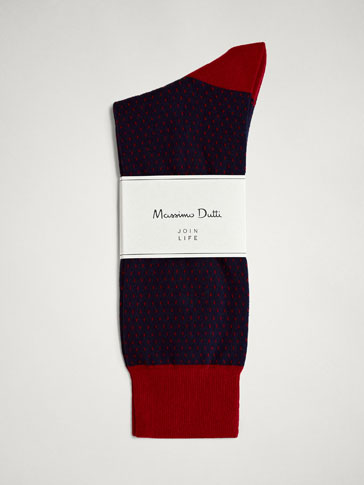 TWO-TONE COMBED COTTON SOCKS