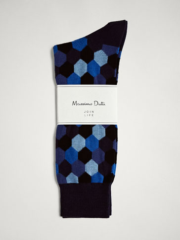 HEXAGON DESIGN COMBED COTTON SOCKS