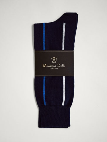 VERTICAL STRIPED COMBED COTTON SOCKS