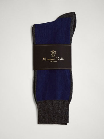 TWO-TONE COLOUR BLOCK COMBED COTTON SOCKS