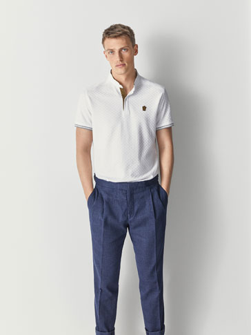TEXTURED WEAVE COTTON POLO SHIRT WITH CONTRASTING DETAILS