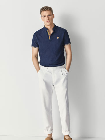 944a306c TEXTURED WEAVE COTTON POLO SHIRT WITH CONTRASTING DETAILS. PLAIN POLO SHIRT  WITH MAO COLLAR - Polos - MEN - Egypt - Massimo Dutti