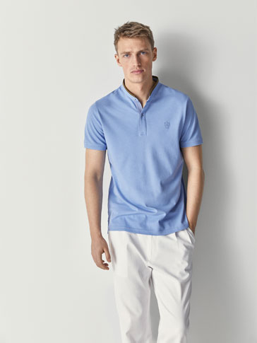 36961e61 COTTON POLO SHIRT WITH CONTRASTING DETAILS. Men's Massimo Dutti light Blue  Short Sleeve Polo ...