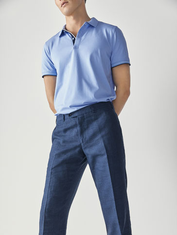 TEXTURED WEAVE COTTON POLO SHIRT WITH CONTRASTING DETAIL