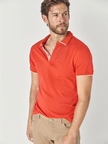 TEXTURED WEAVE COTTON POLO SHIRT WITH STRIPED PLACKET