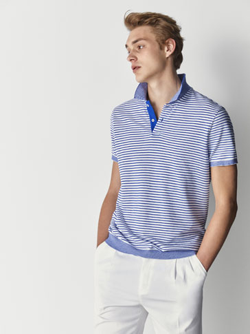 SLIM FIT STRIPED DECREASE STITCH COTTON POLO SHIRT
