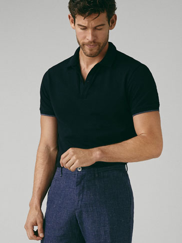قميص بولو قطن إلاستان تفصيل متباين سليم فيت