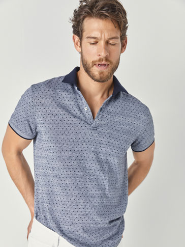 POLKA DOT PRINT COTTON POLO SHIRT