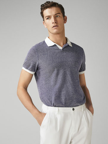 COTTON/LINEN POLO SHIRT WITH CONTRASTING DETAIL