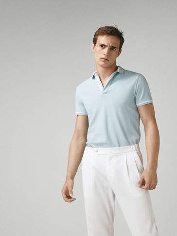 TEXTURED COTTON POLO SHIRT WITH CONTRASTING STRIPES