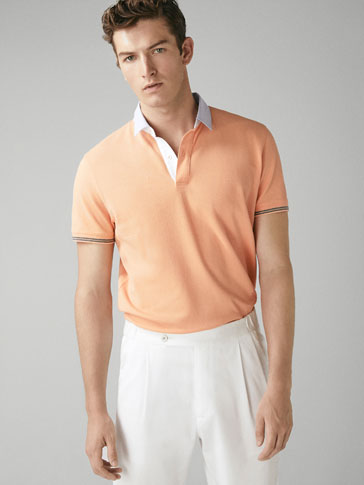 TEXTURED COTTON POLO SHIRT WITH SHIRT COLLAR