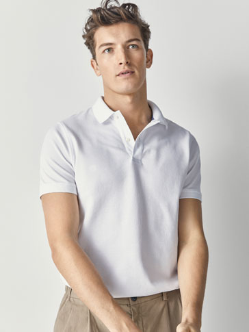 64252962 MASSIMO DUTTI White Cotton Pique Long Sleeve Polo Shirt L
