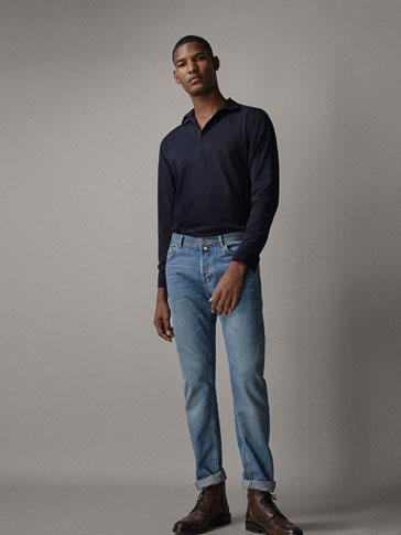 POLO SHIRT WITH CORDUROY DETAILS