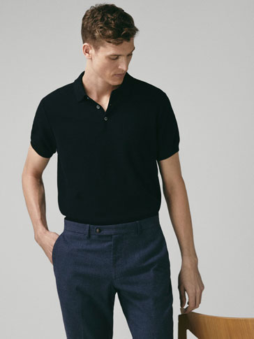 TEXTURED COTTON POLO-STYLE SWEATER
