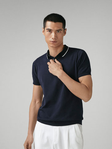 COTTON POLO SWEATER WITH CONTRASTING DETAILS