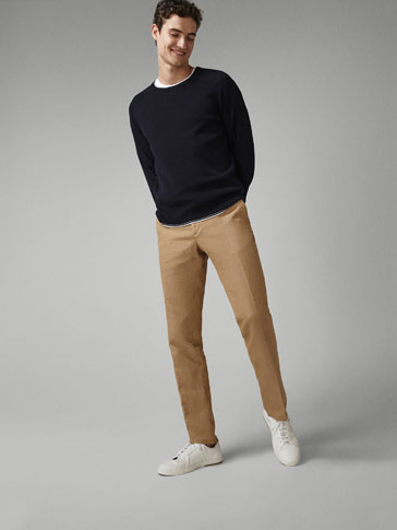 COTTON SWEATER WITH CONTRASTING DETAIL