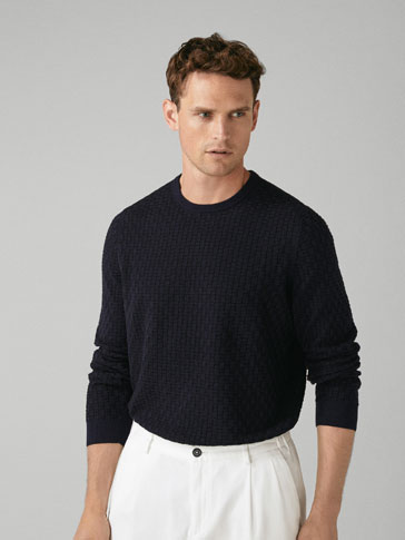 TEXTURED WEAVE COTTON/SILK SWEATER