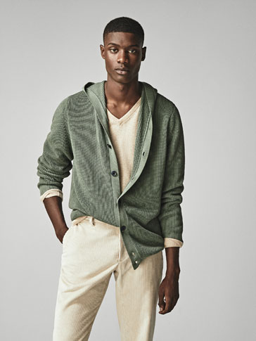 RIBBED CARDIGAN WITH HOOD
