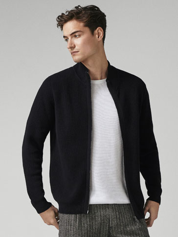 RIBBED COTTON CARDIGAN