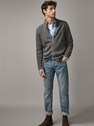 Ribbed Cotton Cardigan by Massimo Dutti