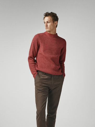 TEXTURED WOOL/CASHMERE SWEATER