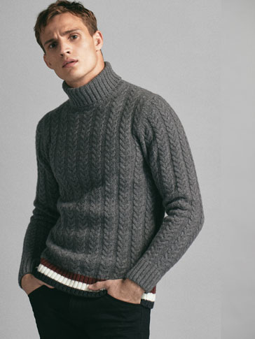 LIMITED EDITION CONTRAST CABLE-KNIT WOOL SWEATER