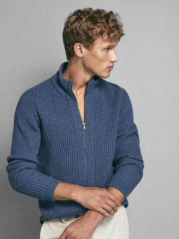 LIMITED EDITION REINFORCED COLLAR RIBBED WOOL CARDIGAN