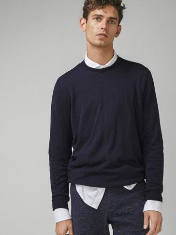 단색 코튼/실크/캐시미어 스웨터