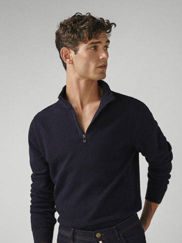 Cotton/Cashmere Textured Sweater by Massimo Dutti